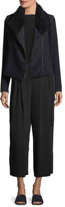 Vince Zip-Front Scuba Coat w/ Shearling Fur Collar
