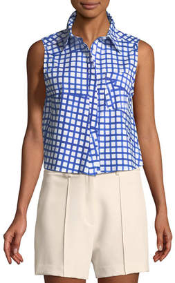Milly Leah Window-Check Sleeveless Top
