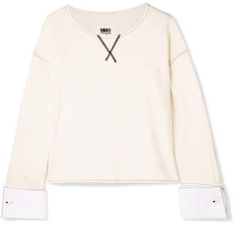 MM6 MAISON MARGIELA Poplin-trimmed French Cotton-blend Terry Sweatshirt