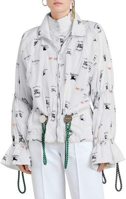 Burberry Poole Triple Archive Logo Print Windbreaker Jacket