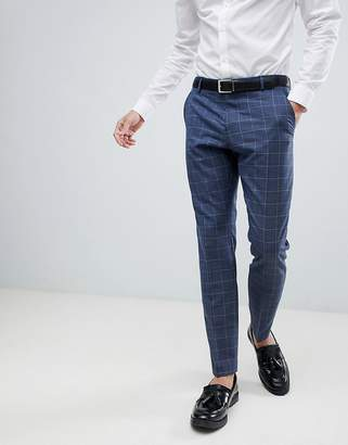 Selected Slim Suit PANTS In Blue Window Pane Check