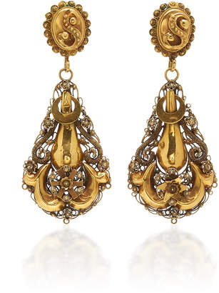 Fox and Bond Georgian Cannetille 18K Gold Chandelier Earrings