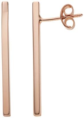 14k Rose Gold Bar Drop Earrings