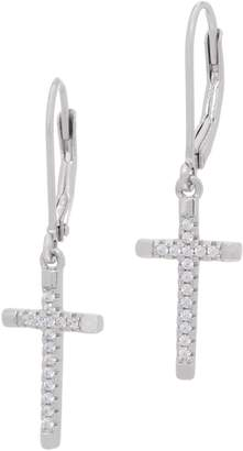 Diamonique Cross Dangle Lever Back Earrings Sterling