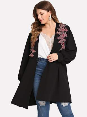 Shein Plus Floral Embroidery Cardigan