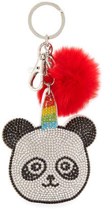 Bari Lynn Girls' Crystal Panda Key Chain w/ Fur Pompom