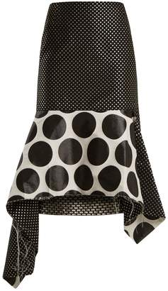 Marques Almeida MARQUES'ALMEIDA Polka-dot jacquard asymmetric-hem skirt