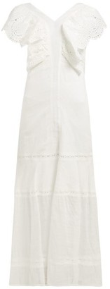 Leila Sir Broderie Anglaise Cotton Voile Maxi Dress - Womens - Ivory