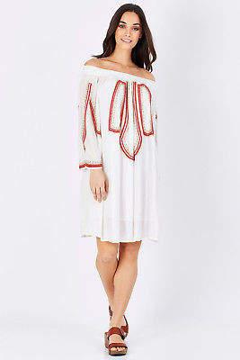 Biba NEW Solito Womens Knee Length Dresses Ots Dress White - Dresses