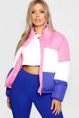 boohoo Plus Colour Block Cropped Puffer Jacket