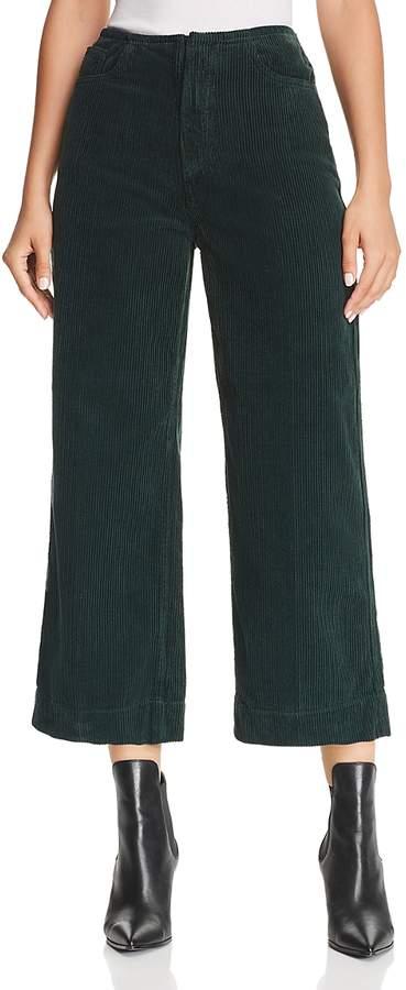 Etta Cropped Wide-Leg Corduroy Jeans in Verdant