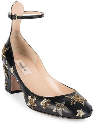 Valentino Women's Star-Studded Leather Ankle-Strap Block Heel Pumps
