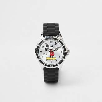 River Island Boys black rubber strap Mickey Mouse watch