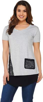 Logo By Lori Goldstein LOGO by Lori Goldstein Lace Detail Top and Curved Hem Tank Twin Set