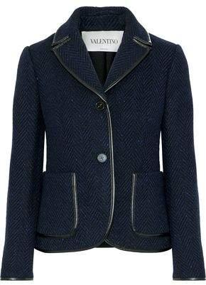 Valentino Faux Leather-Trimmed Herringbone Wool Jacket