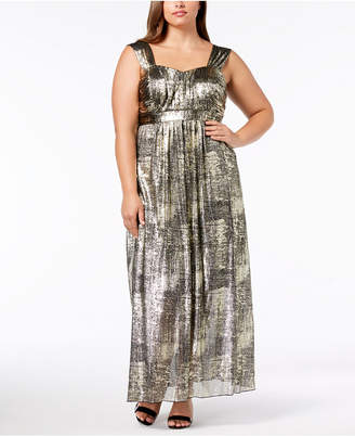 Connected Plus Size Metallic Maxi Dress