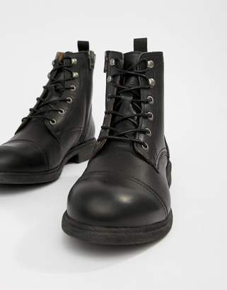 Selected Leather Lace Up Boot With Toe Cap