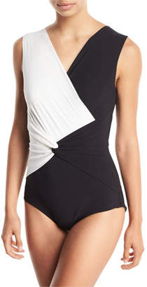 Chiara Boni Filly Twist-Front Colorblock One-Piece Swimsuit