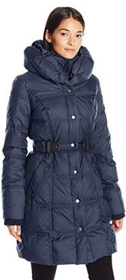 Larry Levine Women's 3/4 Pillow Collar Puffer with Faux Leather Side Tabs