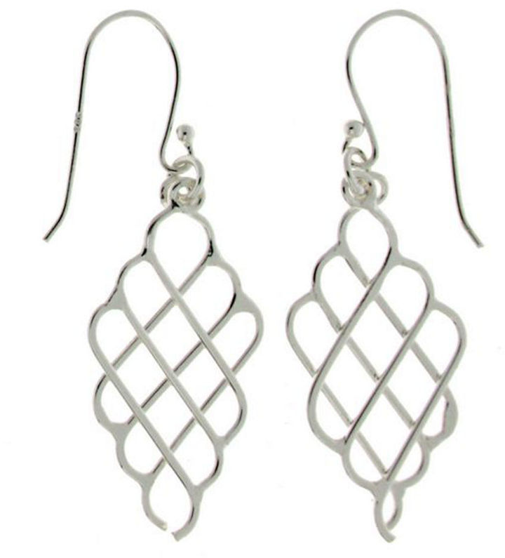 Lord & Taylor Sterling Silver Caged Drop Pendant Earrings