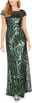 Calvin Klein Cap-Sleeve Sequined V-Back Gown