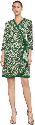 BCBGMAXAZRIA Adele Floral Ikat-Print Wrap Dress