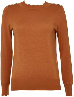Wallis Petite Brown Scallop Neck Jumper