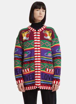 Gucci Striped Tiger Intarsia Knit Cardigan in Green and Purple