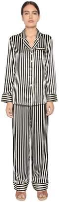 Striped Print Silk Satin Pajama Set