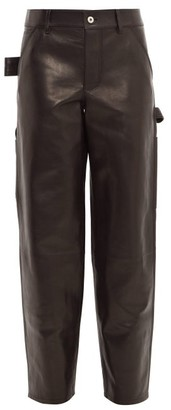 Bottega Veneta Mid Rise Straight Leg Leather Trousers - Womens - Black