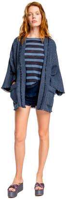 Max Studio indigo linen ruffled shorts