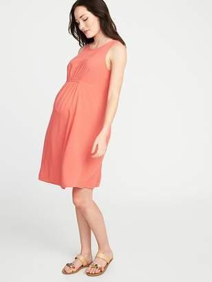 Old Navy Maternity High-Neck Shirred-Waist Shift Dress