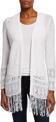 MICHAEL Michael Kors Crochet Fringe Eyelet Cardigan