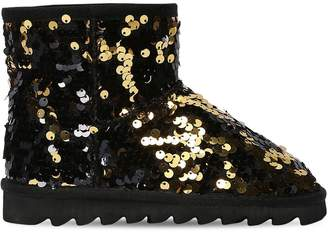 Colors of California Two Tone Sequined Canvas Ankle Boots