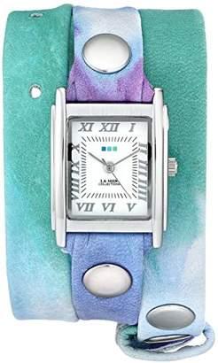La Mer Women's LMSTW3001 Malibu Tie Dye Green Silver Wrap Watch