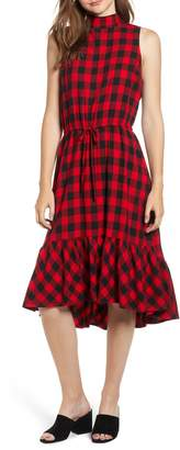 BP Ruffle Hem Plaid Midi Dress