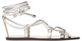 f5c3f8bec7134 Jimmy Choo Aziza Wrap Around Leather Sandals - Womens - Silver