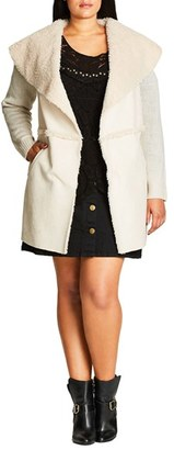 Plus Size Women's City Chic Faux Shearling Front Cardigan $99 thestylecure.com