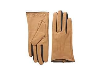 Calvin Klein Leather Gloves w/ Color Pop Debossed Logo