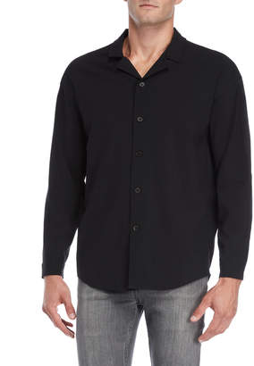 Second/Layer Black Long Sleeve Camp Collar Shirt