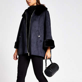 River Island Navy faux suede cape jacket