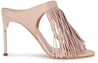 Alexander McQueen 100 Blush Fringed Leather Mules