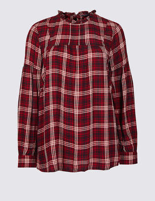 Marks and Spencer Checked Round Neck Long Sleeve Blouse