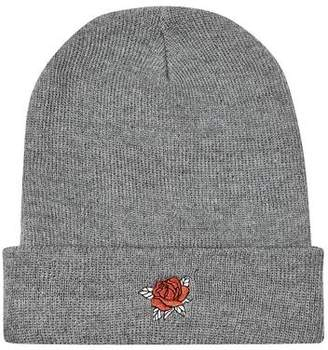 Topman Mens Grey Gray Rose Embroidered Beanie