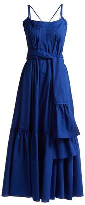 Three Graces London - Ariadne Ruffled Cotton Maxi Dress - Womens - Dark Blue