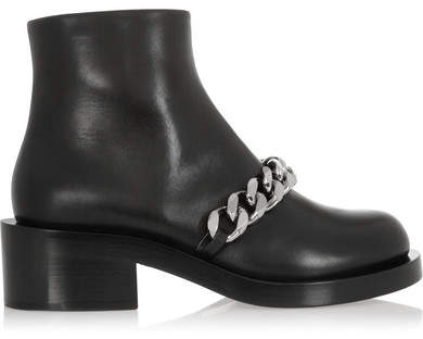 Givenchy - Laura Chain-trimmed Leather Ankle Boots - Black
