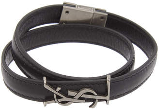 Saint Laurent Leather Monogram Wrap Bracelet