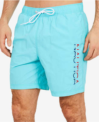 "Nautica Men's Quick-Dry Embroidered Signature 8"" Swim Trunks, Created for Macy's"