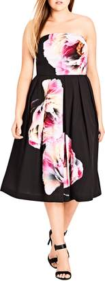 City Chic Bold Bloom Pleated Fit & Flare Dress