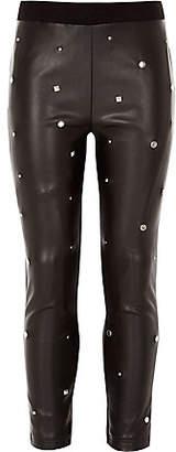 River Island Girls black studded leggings